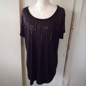 Black studded plus top size 1X